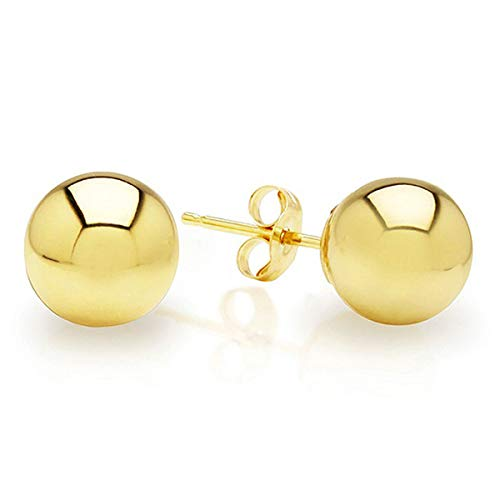 BSD 14K Yellow Gold Ball Stud Earrings for Women | Studs With Push Backs | Real Hypoallergenic Jewelry and Accessories | 3mm - 8mm (Gold Stud Earrings Ball)