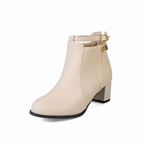 43 zapatos Botas Grande 35 De Zj botas Alto Mujer Talla Invierno botas Tacón Pulir Martin Moda 6avwq1ad