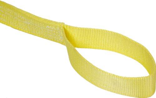 Mazzella EE2-901 Nylon Web Sling, Eye-and-Eye, Yellow, 2 Ply, 9' Length, 1