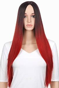 [Fasito Two Tone Ombre Lace Front Wig Full Lace Wigs Color Ombre Human Hair Brazilian Virgin Hair Lace Front Wigs For Black Women Red Full Lace] (Sexy Glamour Wig In Auburn)