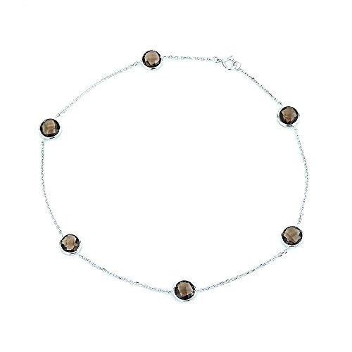 14k White Yellow Gold Anklet Bracelet With 6mm Fancy Cut Round Smoky Quartz Gemstones 9 - 11 Inches by amazinite