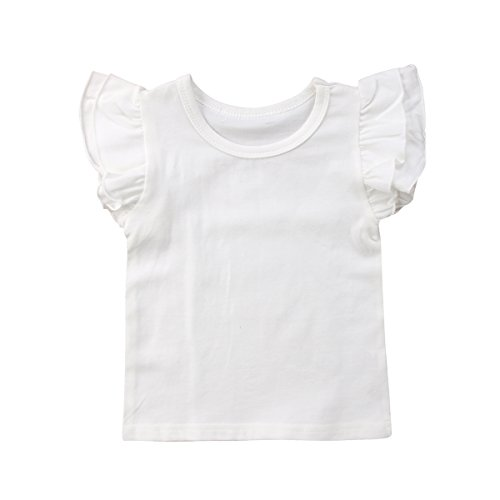 Mubineo Toddler Baby Girl Basic Plain Ruffle Sleeve Cotton T Shirts Tops Tee Clothes (White, 4-5T)