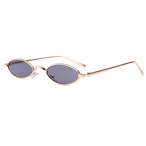 Bedis Small Oval Sunglasse,Retro Slender Metal Frame Candy Colors Glasses BD212 (Gold&Gray, - Frames Round For Best Faces