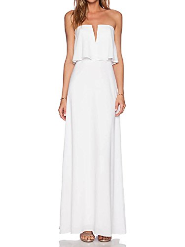 Blooming Jelly Women's Casual Ruffles Maxi Long Dress, White, small