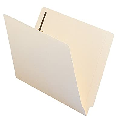 Smead WaterShed/CutLess End Tab Fastener File Folder, Reinforced Straight-Cut Tab, 2 Fasteners, Letter Size, Manila, 50 per Box (34130)