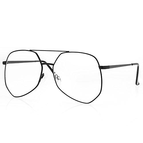 TWING Women Aviators Geometric Frame Sunglasses Double Metal Bridge Clear Lens Sunglasses Eye Wear with Clear Lens AV-1525-CLR - Wholesale Aviator Clear Glasses