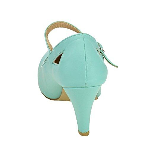 Beston De30 Women Cut Out Mary Janes Style Dress Pumps Run One Size Small Mint