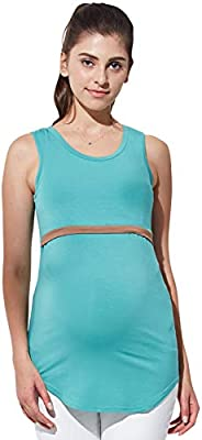 Sweet Mommy Bamboo Simple Maternity and Nursing Long Tank Top
