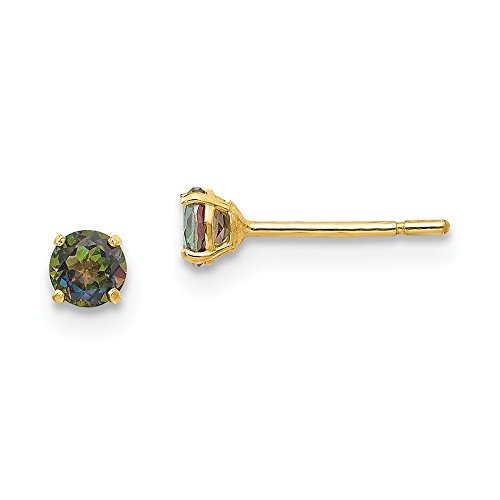 14k Yellow Gold Round Mystic Topaz 3mm Post Stud Earrings Fine Jewelry Gifts For Women For -