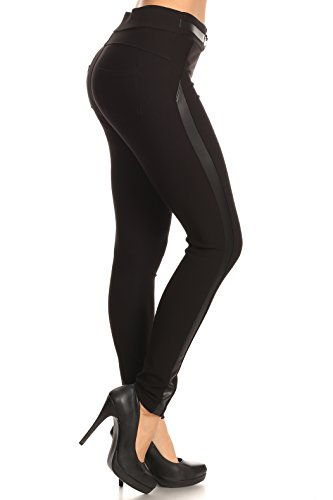ICONOFLASH Women's Ponte Knit Stretch Skinny Dress Pants (Faux Leather Side Stripe, (Skinny Leather Pants)
