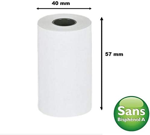 50 Blue Thermal Paper Rolls for Card Terminal Rolls for TPE Machine CB Card Machine BPA-Free Thermal Reel for Thermal Printer Size 57 x 40 x 12 mm