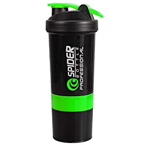 Youdlee Spider Protein Shaker 500ml with 2 Storage Extra Compartment for Gym