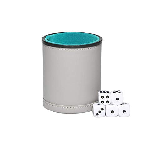 (Grey PU Leather Dice Cup Set Felt Lining Quiet Shaker with 5 Dot Dices for Farkle Yahtzee Family Liars Dice Games)