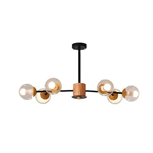 Windsor Home Deco WH-63868 Pendant Chandelier, Nordic Modern Wood Metal Glass Ceiling Lights, 6 Lights
