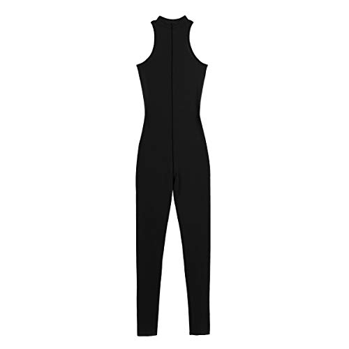 ACSUSS Women's Sexy Mesh Sheer Lingerie Long Sleeve Double Zipper Bodysuit Leotard Black One Size ()