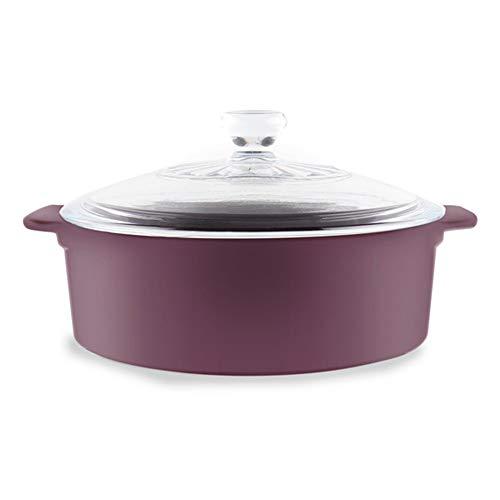 Ceramic Stovetop Cookware, 3.5-Quart Stockpot/Casserole in Eggplant Purple by Robin Shea Pareto Stone - Casserole Ovenware