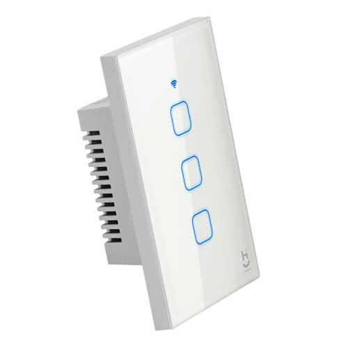 Interruptor Inteligente Wi-Fi para Iluminação, 3 botões, Vidro Branco, Hi By Geonav, Compatível com Alexa