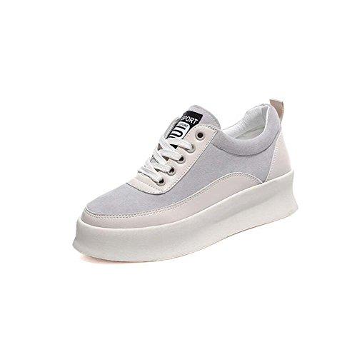 Zapatos atléticos Planos de Las Mujeres Zapatos Casuales comodines Cómodos Zapatos Corrientes Antideslizantes Negro/Blanco Tamaño 35-39 Blanco