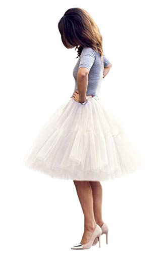 Women 5 Layer Tulle Ballet Bridal Petticoat Princess Skirt(Ivory,One Size)