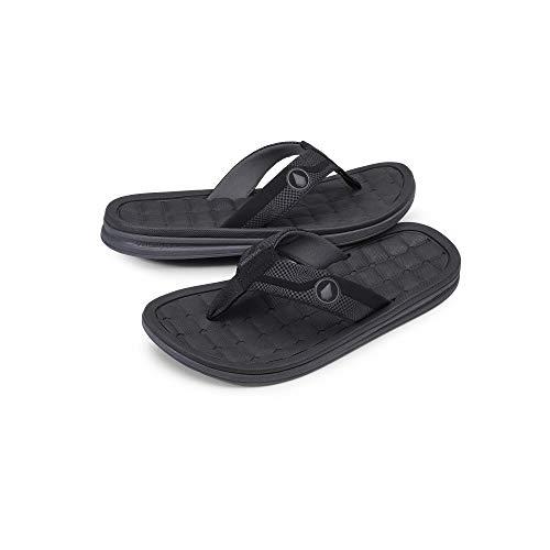 Volcom Men's Drafted Recliner Beach Sandal, Black Combo, 9 D US