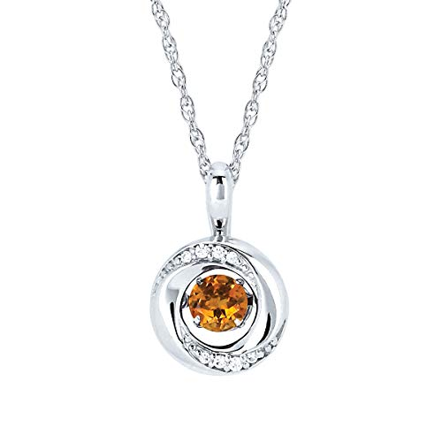 - Brilliance in Motion 925 Sterling Silver 1/5 Carat Dancing Citrine November Birthstone & Diamond Accent Knot Pendant Necklace with 18