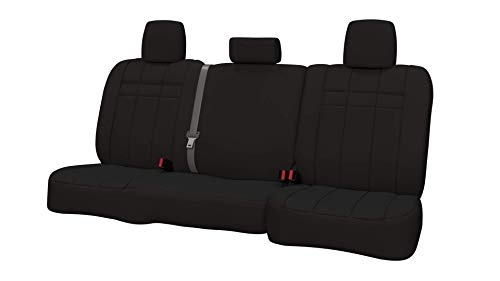 Rear SEAT: ShearComfort Custom Neoprene-Style Seat Covers for Toyota Tacoma (2016-2019) in Solid Black for 40/60 Split Back and Bottom w/ 3 Adjustable Headrests