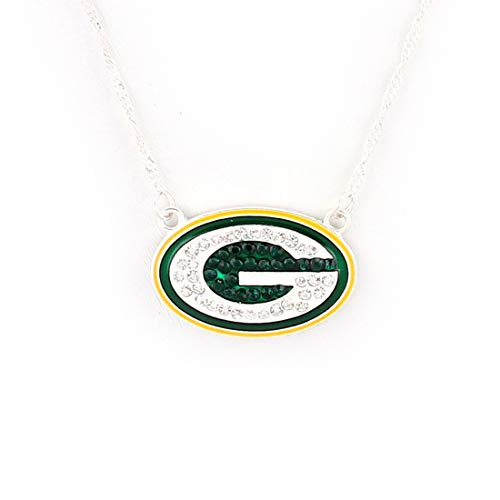 Drop of Silver NFL Football Green Bay Packers Crystal Logo Necklace in Yellow and Green