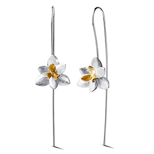 Lotus Fun S925 Sterling Silver Drop Earrings Elegant Orchid Flower Fashion Dangle Earring for Women and Girls, Handmade Unique Jewelry