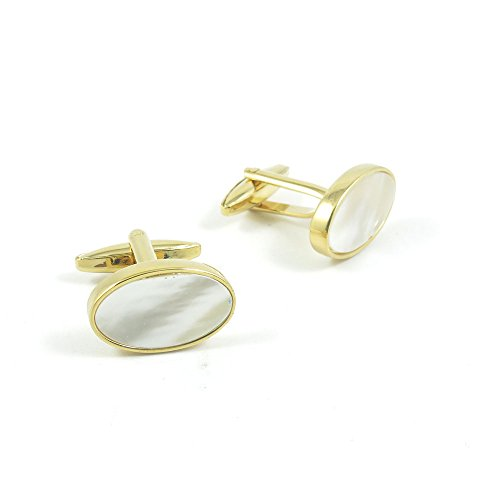 50 Pairs Cufflinks Cuff Links Fashion Mens Boys Jewelry Wedding Party Favors Gift VDR089 Golden Shell Block by Fulllove Jewelry