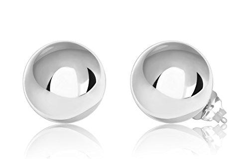 14K White Gold Ball Stud Earrings (9mm - White Gold)