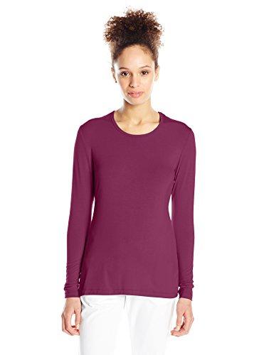 Cherokee Women's Long Sleeve Knit Shirt, Wine, Large