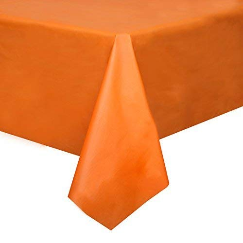 Mountclear 12-Pack Disposable Plastic Tablecloths - 54 x 108 Inch Size Table Cloth - (Orange)]()