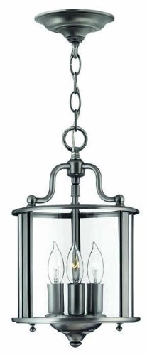 Hinkley 3470PW Traditional Three Light Foyer from Gentry collection in Pwt, Nckl, B/S, - Gentry Pendant Foyer