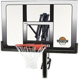 Lifetime 71281 In Ground Power Lift Basketball System, 52 Inch Shatterproof Backboard