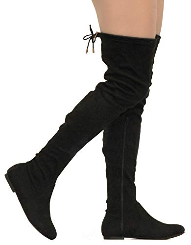 MVE Shoes Womens Fashionable Flat Over The Knee Boots - Comfortable Suede Adjustable Boots, Black Suede 8