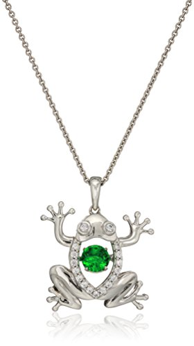 Sterling Silver Dancing Simulated Emerald with Cubic Zirconia Frog Pendant Necklace, (Emerald Frog Pendant)