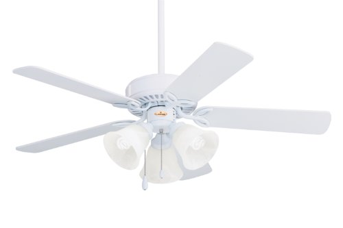 Emerson CF710WW Traditional Style 42-Inch 5-Blade Ceiling Fan, White with Frosted (Builder Indoor Fan)