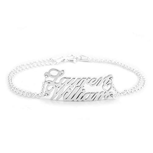 - Personalized 925 Sterling Silver Couple Name Bracelets Double Chain Custom 2 Names for Women,Men,Couples