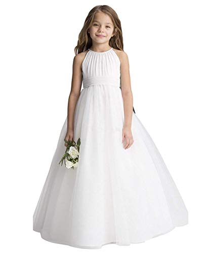 Abaowedding Flower Girls Tulle Chiffon Dresses Kids Wedding Party Pageant Ball Gowns Ivory Size 2]()