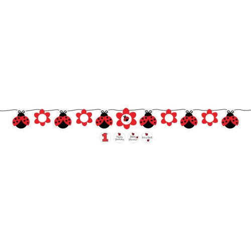 Creative Converting 299019 Ladybug Fancy Circle Ribbon Party Banner with Stickers, Multicolor
