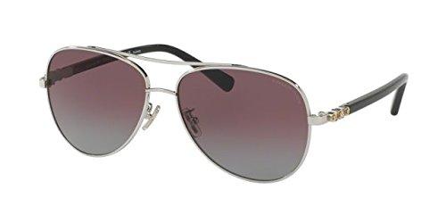 Coach Womens Sunglasses Silver/Burgundy Metal - Polarized - - Polarized Coach Aviator Sunglasses