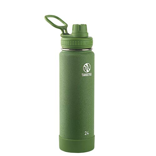 (Takeya 51161 Actives Insulated Stainless Steel Al Terra Bottle with Spout Lid, 24oz, Olive)