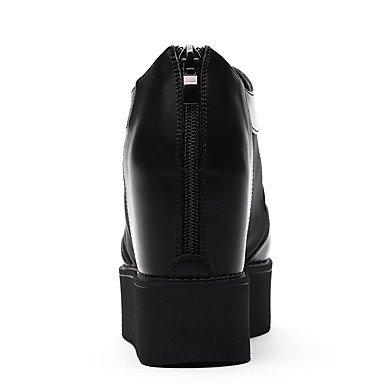 LvYuan Mujer-Plataforma-Creepers-Sandalias-Oficina y Trabajo Vestido Informal-Semicuero-Negro Blanco Black