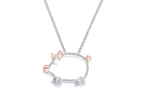 Round Cut White Natural Diamond Accent Two Tone Pig Pendant in 14K Gold Over Sterling Silver