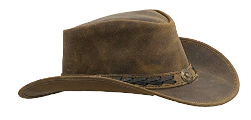 (Walker and Hawkes - Leather Cowhide Outback Antique Hat - Light Brown - M (58cm))