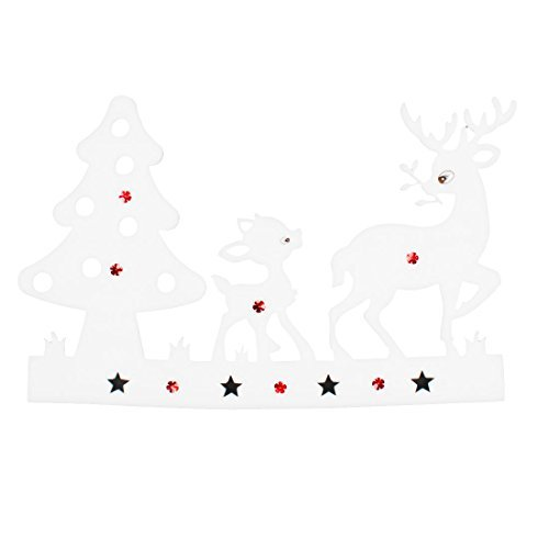DealMux White Foam Reindeer Christmas Tree Design Xmas Stickers Wall Decals