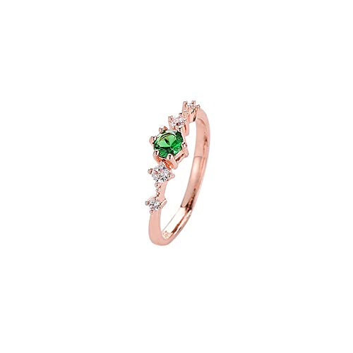 CAIYCAI Plate With Silver Ring For Women Green/Whiten/Pink Copper Rings Crystal CZ Stone Wedding Ring Green 10