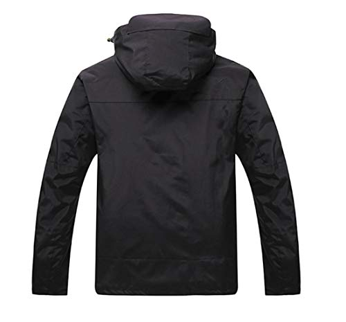 piece Mountaineering Suit Two Liner Fleece Black Jacket Detachable Outdoor Waterproof FqZxCYq