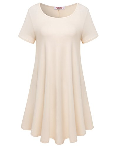 BELAROI Womens Comfy Swing Tunic Short Sleeve Solid T-Shirt Dress (M, Beige)