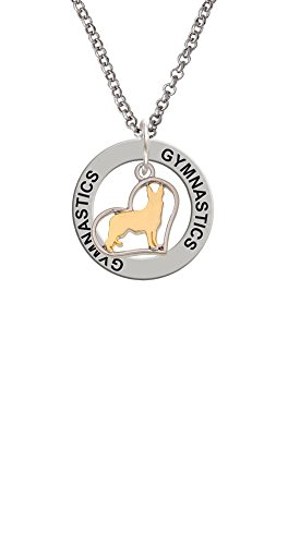 Two Tone German Shepard Silhouette Heart - Gymnastics Affirmation Ring Necklace